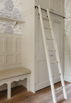 """Plain English Design   House Keepers cupboard and seating painted in Plain English """"Rice Pudding""""."""