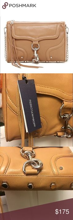 """Rebecca Minkoff Full Size MAC crossbody NWT This is the full size MAC. Brand new with tags. Genuine leather, tan color with silver hardware. 22"""" shoulder strap which is removable. One interior zip pocket and three slip pockets. Great everyday bag. Absolutely no flaws. Comes with dust bag and authentication cards. Retail is $295. This model is rare. Rebecca Minkoff Bags Crossbody Bags"""