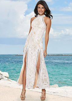 Ivory Laced Maxi Dress from VENUS