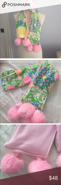 "Hibiscus Stroll Lilly Pulitzer Fabric Scarf Extra Long 72"" Pompom Scarf handmade w Lilly Pulitzer Hibiscus Stroll Fabric and lush pink Pompoms😀❄️❄️ Accessories Scarves & Wraps"