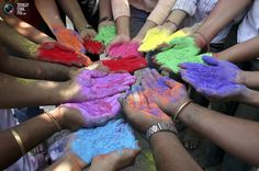 Festival of colors in India. They throw this colored powder everywhere and everything is drenched in color.
