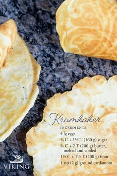"""Take on the traditional Norwegian dessert """"krumkaker"""" this holiday season and serve up light & crispy happiness! Fill with whipped cream for an extra rich treat. Viking Food, Served Up, Dessert Recipes, Desserts, Other Recipes, Holiday Treats, Allrecipes, Baking Cookies, Dishes"""