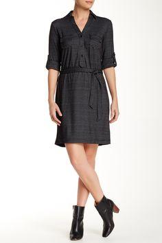 Max Studio | Rolled Sleeve Knit Placket Shirt Dress | Nordstrom Rack