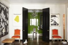 """I can't think of a better home to post on Easter than one with bright Easter egg colored rooms. It's also appropriate since many of the furnishings in Todd Alexander Romano's New York apartment are up for auction at Christie's this week. Romano is best known for mixing periods and styles with great success. """"Some of my […]"""