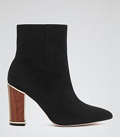 Marley Black Wooden Heel Ankle Boots - REISS