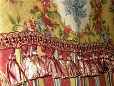 toile valances   French Country Provence Valance Curtain Waverly Toile Stripe Red Gold ...