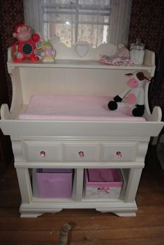 Refurbished dry sink into an adorable baby changing table. For sale at walnutspringfarm.blogspot.com