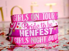 I've just found Hen Party Vip Wristbands. If you are a Festival Bride or having a festival style Hen Party Weekend then you need to have these Hen Party VIP wristbands. Party Wristbands, Festival Themed Wedding, Purple Color Schemes, Seating Plan Wedding, Seating Plans, Hen Party Accessories, Bachelorette Party Favors, Party Favours, Hens Night