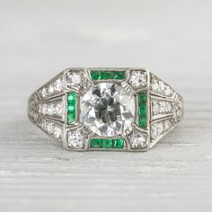 Image of 1.01 Carat Art Deco Vintage Emerald & Diamond Engagement Ring