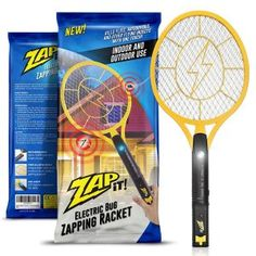 Best Fly Killers For Indoors And Outdoors: Zap-It! Bug Zapper - Rechargeable Mosquito, Fly Killer and Bug Zapper Racket - 3000 Volt - USB Charging, Super-Bright LED Light to Zap in the Dark - Unique Safety Mesh That's Safe to Touch
