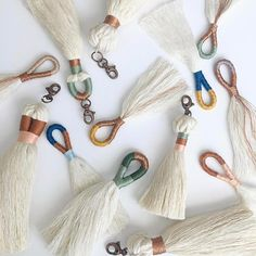 Tassel Tuesday continues 🙌 these would make great additions to any Easter basket 🐰💜🐥 available this weekend! Diy Macrame Wall Hanging, Macrame Art, Macrame Design, Macrame Projects, Macrame Knots, Diy Crafts For Kids, Arts And Crafts, Diy Keychain, Keychains