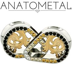 "1 1/4"" Teardrop Gemmed Eyelets in ASTM F-138 stainless steel with bronze Nouveau Inserts: CZ, Champagne CZ, Amber Yellow CZ and Black CZ gemstones"