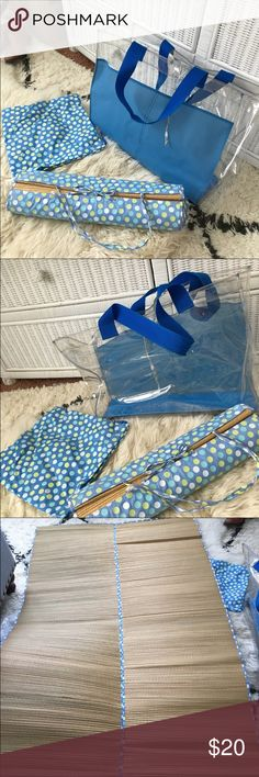 Blue Polka Dot Beach Bag / Mat Bag is in good condition with minor signs or wear and mat is in perfect condition - never been used! Bags Totes