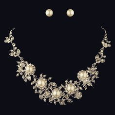 """The Eldora"" Gothic White Pearl & Rhinestone Set"