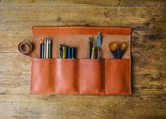 Leather artist roll, leather pencil roll, leather pencil case, leather tool roll case, paint brush holder, leather gift, christmas gift