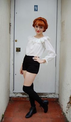 Vintage 1970's Pierrot Style Blouse, Black High Waisted Shorts, Black Knee High Socks, Black Brogue Ankle Boots