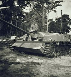 Jagdpanzer IV on which posing an American soldier in the summer of 1945, Germany