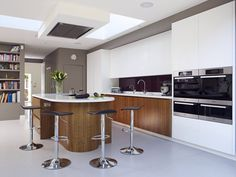 Induction stove and extractor fan on ceiling