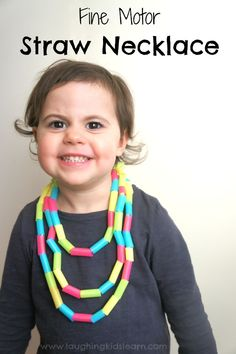 DIY fine motor activity of threading straw beads to make bracelets and necklaces.