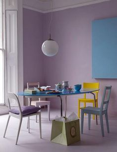 thinking of redoing the living room in buttery yellow and lilac, and the kitchen in blue....