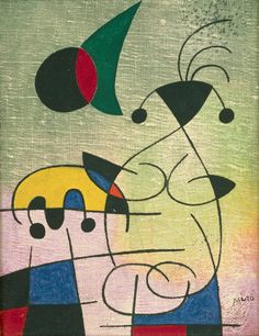 The Sun Embracing the Lover by @artistmiro #abstractexpressionism #surrealism