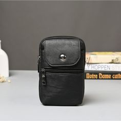 Hot-sale Man PU Running Waist Bag Hook Crossbody Bag Hanging Neck Phone Bag - NewChic