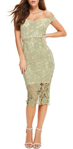 bardot lace off the shoulder dress by MISSGUIDED. Styled with an alluring neckline that shows off your shoulders, this curve-hugging lace midi dress also highlights yo...