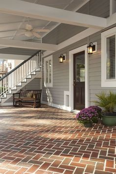 Porch & Garage Addition to a Historic Home - traditional - porch - wilmington - Balding Brothers Restoration & Remodeling Home Design, Patio Design, Design Ideas, House Paint Exterior, Exterior House Colors, Siding Colors For Houses, Red Brick Exteriors, Traditional Porch, James Hardie