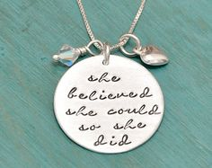 she believed she could so she did, hand stamped necklace, inspirational necklace sterling, sterling silver