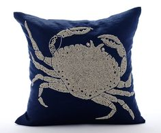Navy Blue Cushion Covers  Square  Beaded Crab by TheHomeCentric
