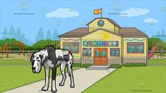 An Exhausted Great Dane Dog With Outside A Pre School Background :   A dog with white short fur and black spots bows down looking tired and exhausted and Outside a pre school with yellow walls light brown roofing beige bricks red frame with green glass windows and wooden doors an orange flag raised on the highest level of the school surrounded by a playground during a clear blue sky