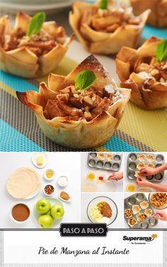 #Pie de manzana al instante: Corta en rebanadas 3 manzanas verdes descorazonadas y peladas. Mézclalas con ¾ tz de azúcar mascabado, 2 cdas de fécula de maíz, 1 cdita de canela y 1 cdita de ralladura de naranja. Aparte, con 12 tortillas de harina forma cuadrados; empalma dos tortillas pegándolas con mantequilla derretida y acomódalas en una charola para muffin. Repite este paso con todas las tortillas. Rellénalas y espolvorea con nuez picada. Hornea por 25 min a 200 ºC