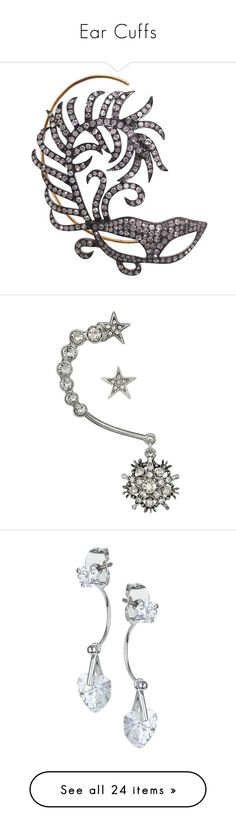 """Ear Cuffs"" by thesassystewart on Polyvore featuring jewelry, earrings, gray earrings, diamond jewellery, diamond jewelry, grey diamond earrings, ear cuff earrings, silver, crystal earrings and crystal stud earrings"
