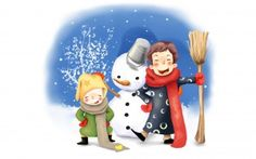 Preview wallpaper drawing, kids, fun, snowman, winter, bucket, broom, buttons…