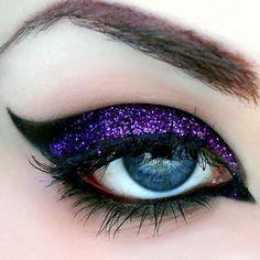 crease make-up, cat eye eyeliner & purple glitter shine eye shadow