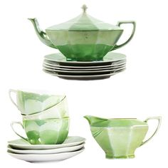 Mint Green Czechoslovakia Tea Set, S/13 #huntersalley