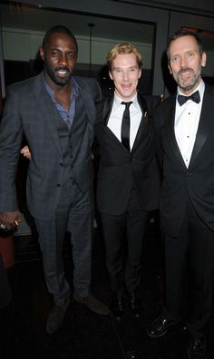 """cumberbatchweb: """" All the handsome boys - Idris Elba, Benedict Cumberbatch and Hugh Laurie """" Looks like the drinks worked. Elba and Laurie are makin' their move. Benedict Cumberbatch, Tv Actors, Actors & Actresses, Gq Awards, Una Stubbs, Amanda Abbington, Louise Brealey, Sherlock Cast, Benedict And Martin"""