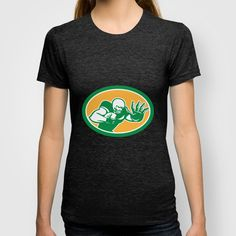 American Football Player Fend Off Oval Retro T-shirt
