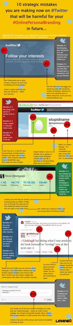 #FFSocial 10 errori da non fare per implementare il proprio personal brandig su Twitter (ancora Twitter? Certo! Perchè non si finisce mai di imparare e di ricordare gli errori!) :)