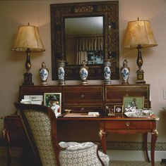 A provincial Louis XV style desk with gold tooled leather fronted cartonier superstructure by Victoria & Son for Howard Slatkin Leather Tooling, Tooled Leather, Vignettes, Entryway Tables, Victoria, Projects, Desk, Furniture, Designers