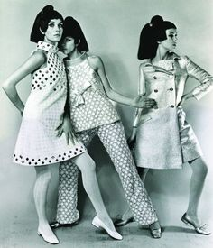 Moon Girl Style—Introduced in the 60's by Courreges in Paris as a reflection of the great interest in the space program.  The style, always in whites or silvers, was made of silver sequin pants, white jackets, and  white vinyl boots.