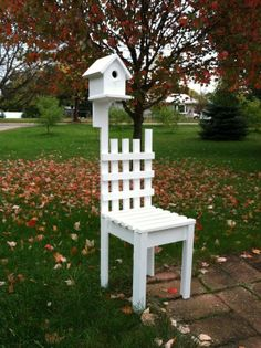 Bird House as planter chair by JohnsonWoodshop on Etsy, $49.00