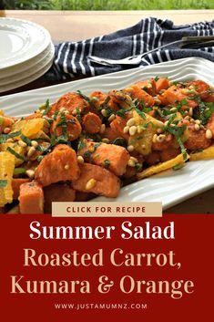 Roasted Kumara, Carrot & Orange Summer Salad - Just a Mum Broccoli Recipes, Vegetable Recipes, Salad Recipes, Broccoli Salad, Whole Food Recipes, Cooking Recipes, Healthy Recipes, Christmas Recipes, Cooking Ideas
