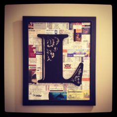 Collage of ticket stubs from different places we've been and things we've done... Art collage, canvas art, DIY decorating