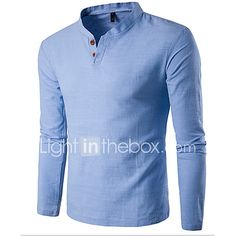 Cheap t shirt men, Buy Quality t shirt directly from China button t shirt Suppliers: Button T Shirt Men Slim Fit Long Sleeve Shirts Solid T-shirt Linen Tee Shirt Casual Top Blouse Casual T Shirts, Casual Tops, Men Casual, Casual Clothes, Smart Casual, Casual Wear, Amazon Mode, Color Plus, Chinese Collar