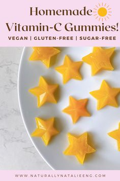 This vegan gummy recipe takes 5 minutes to prepare! It's an easy, fun way to get a boost of vitamin C! Plus it's kid-friendly, gluten-free, and all plant-based! Vitamin C Gummies, My Recipes, Vegan Recipes, Vegan Gummies, Juice Flavors, Dairy Free, Gluten Free, Vegan Vegetarian, Gummy Recipe