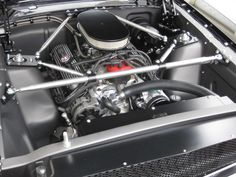 """65 Mustang as featured in """"Modified Mustangs and Fords"""" magazine, featuring 347 fuel injected windsor engine, coil over suspension and numerous EBMC touches Mustang Engine, 1965 Mustang, Ford Mustang Fastback, Ford Racing Engines, 1954 Ford, Corvette C5, Vintage Mustang, Ford Maverick, Classic Mustang"""