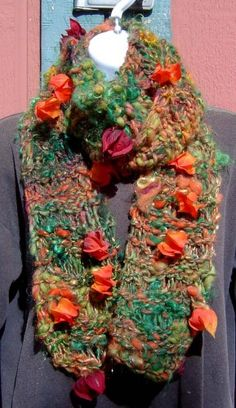 Chinese Lantern Hand Knit Scarf from Handspun Art Yarn ~ for sale on Artfire.com