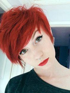 red hair, short hair, pretty girl