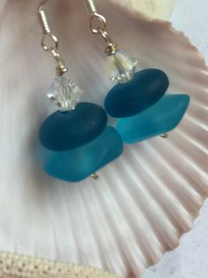 Sea Glass Earrings-blue beach glass by SeasideJewelry1 on Etsy